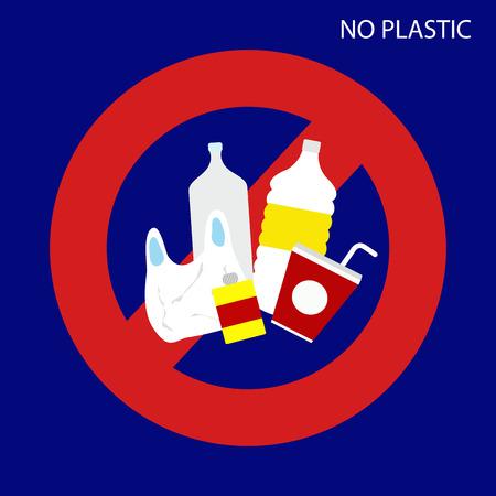 No plastic sign. vector illustration. Çizim