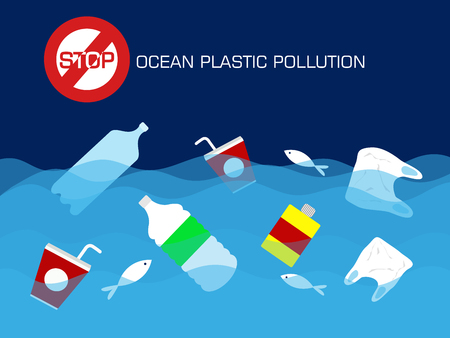 Stop plastic ocean pollution concept. vector illustration. Иллюстрация