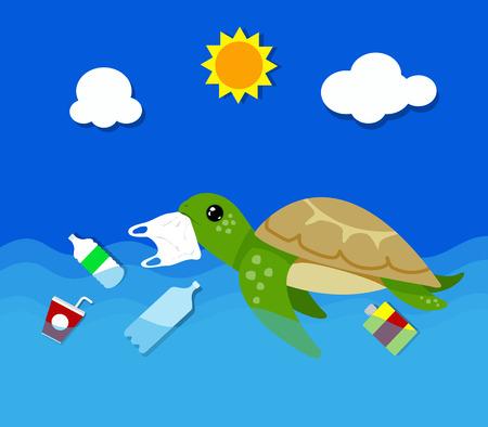 Plastikverschmutzung im Meeresumweltproblem. Schildkröten können Plastiktüten essen, die sie mit Quallen verwechseln. Vektorillustration.