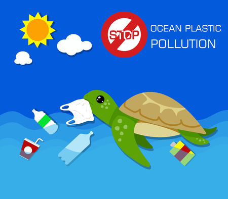 Plastic pollution in ocean environmental problem. Turtles can eat plastic bags mistaking them for jellyfish. vector illustration. 向量圖像