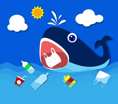 Inquinamento da plastica nel problema ambientale dell'oceano Balena che mangia i sacchetti di plastica. Vettoriali