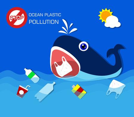 Plastikverschmutzung im Ozeanumweltproblem. Wal fressende Plastiktüten.