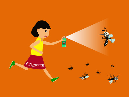 Girl fight mosquito by spray. protection dengue fever concept. Vector illustration.