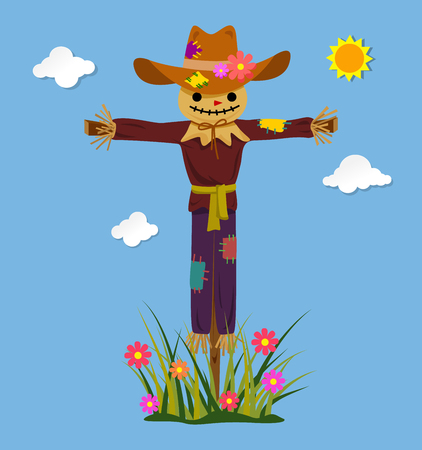 Happy smiling scarecrow. Vector illustration.