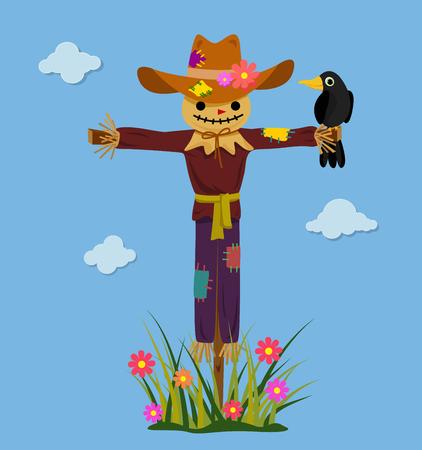 Happy smiling scarecrow with crow. Vector illustration. Stock Illustratie