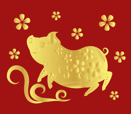 Happy chinese new year 2019. Year of the pig. Vector illustration.