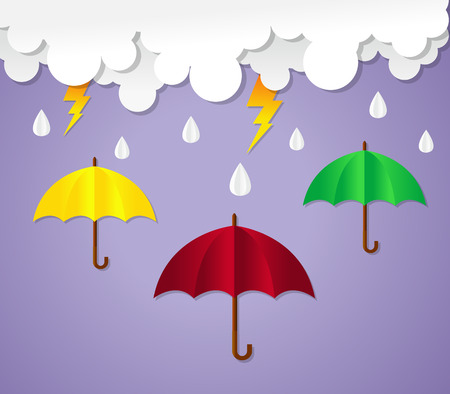 Rainy season. umbrella with raining. paper art vector illustration. Çizim