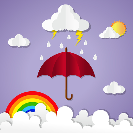 Rainy season. umbrella with raining. paper art vector illustration.