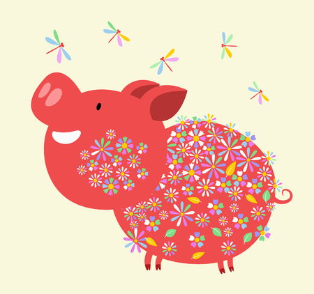 Happy Chinese new year 2019, year of the pig. Chinese zodiac sign year. Vector illustration. Çizim