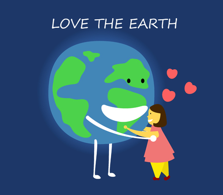 Love the earth concept. save the world. vector illustration