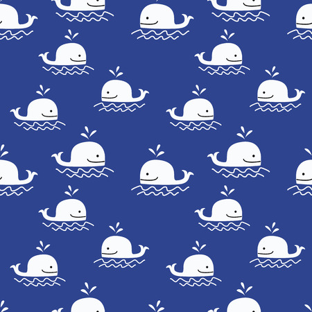 whale pattern seamless vector. Vettoriali