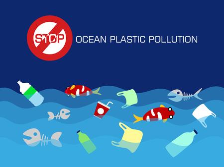 Arrêtez le concept de pollution plastique des océans. illustration vectorielle.