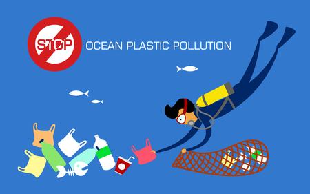 Halte à la pollution plastique. Réduire, réutiliser, recycler. Plongeur sous-marin nettoyant les déchets plastiques de l'océan. illustration vectorielle.