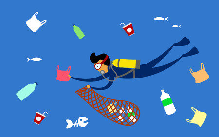 Stop plastic pollution. Reduce, Reuse, Recycle. Scuba diver cleaning plastic trash from ocean. vector illustration. Foto de archivo - 111226056