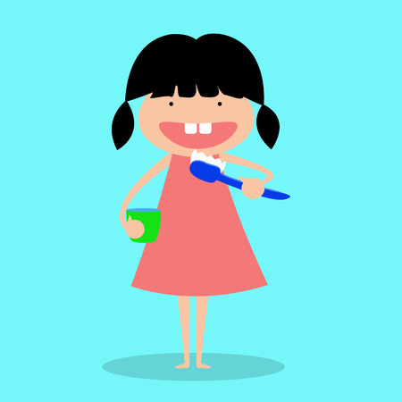 kid brushing teeth. vector illustration.