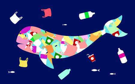 Stop ocean plastic pollution vector illustration. Plastic inside a silhouette shape of a dolphin.
