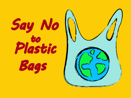 say no to plastic bags. stop plastic pollution concept. vector illustration.