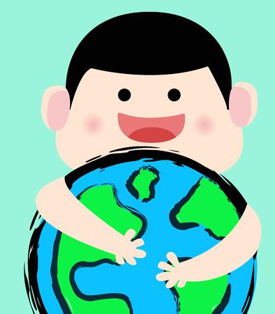 Kid hug the earth. love the earth concept. vector illustration.