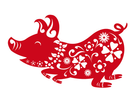 Happy chinese new year 2019. Year of the pig. Vector illustration design. 向量圖像