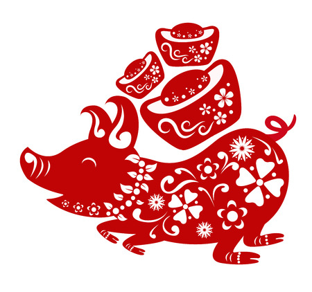 Happy chinese new year 2019. Year of the pig. Vector illustration design. Ilustracja