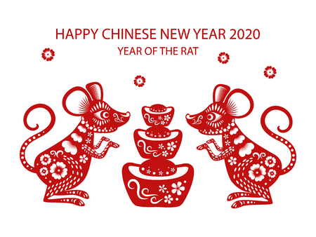 Happy chinese new year 2020 , year of the rat