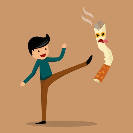 Stop smoking concept , the man success to stop smoking . vector illustration design. 向量圖像