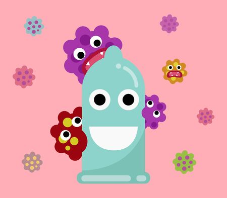 condom prevention sexual transmitted disease concept. happy condom with many virus. vector illustration 向量圖像
