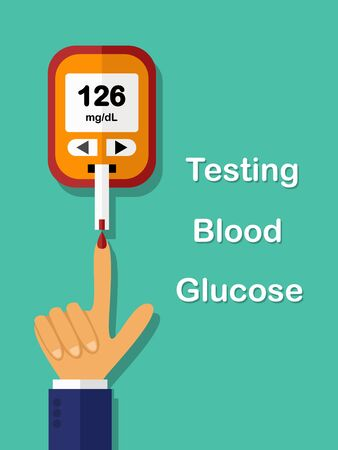 diabetes concept, testing blood glucose vector illustration