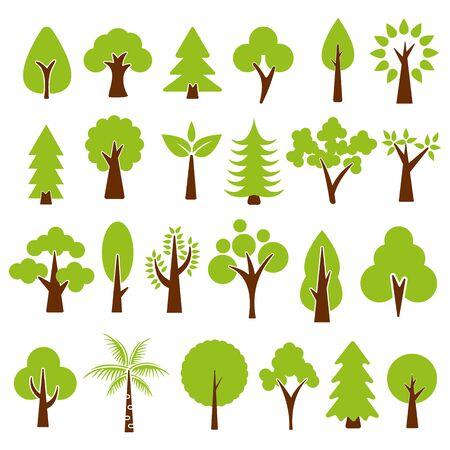 trees set isolated on white background , vector illustration. 向量圖像
