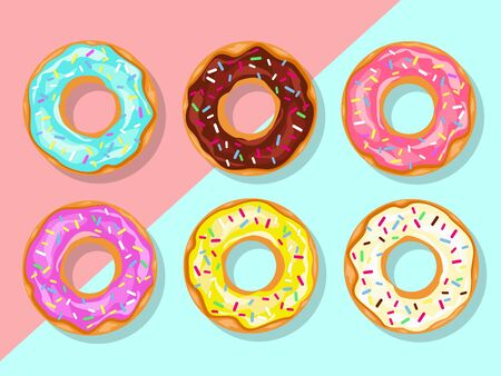 Donuts with sprinkles isolated on pink and blue background 向量圖像