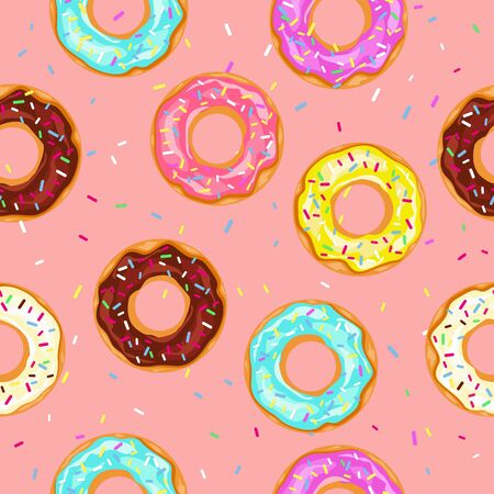 Donuts with sprinkles seamless pattern isolated on pink background