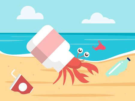 ocean plastic pollution concept. hermit crab with a plastic bottle shell. vector illustration Stok Fotoğraf - 126257751