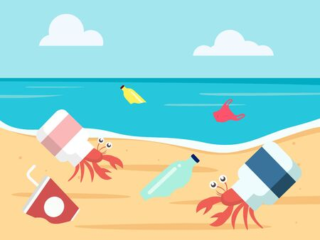 ocean plastic pollution concept. hermit crab with a plastic bottle shell. vector illustration