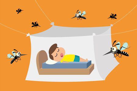 Bambino che dorme sotto la zanzariera, zanzariere per proteggere dalla febbre dengue, illustrazione vettoriale