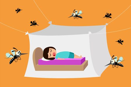 Child sleeping under mosquito net, mosquito nets to protect from dengue fever, vector illustration