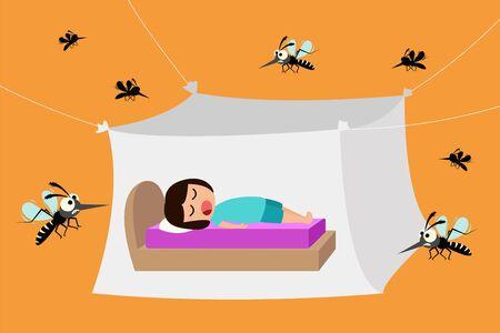 Niño durmiendo bajo mosquitero, mosquiteros para protegerse del dengue, ilustración vectorial Ilustración de vector
