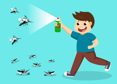 boy fight mosquito by spray. protection dengue fever concept. Vector illustration.