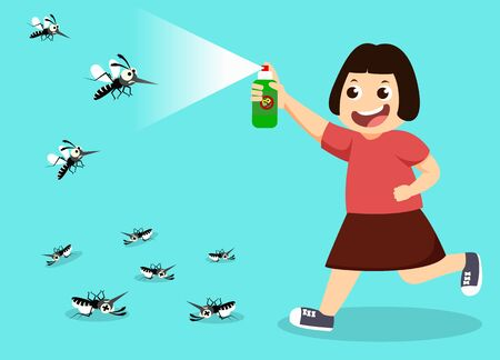 girl fight mosquito by spray. protection dengue fever concept. Vector illustration. 일러스트