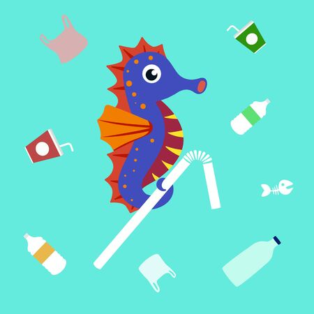 ocean plastic pollution concept. sea horse holding plastic garbage. vector illustration. 일러스트