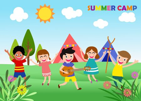 Happy children are jumping and dancing. Ready for your message. blank template character. vector illustration summer camp concept 일러스트