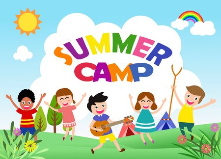 Happy children are jumping and dancing. Ready for your message. blank template character. vector illustration summer camp concept 向量圖像