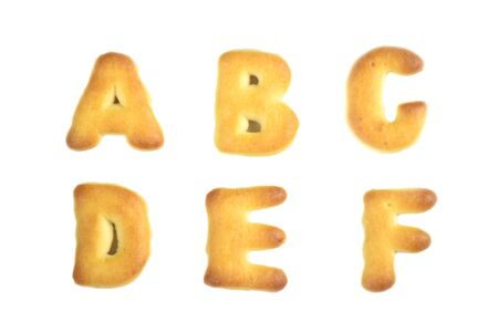cookies alphabet isolated on white background