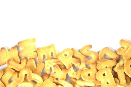 cookies alphabet with copy space for text Stok Fotoğraf - 132110703