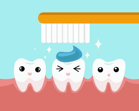 Dental care concept. clean and dirty tooth on blue background. cute teeth character. vector illustration.