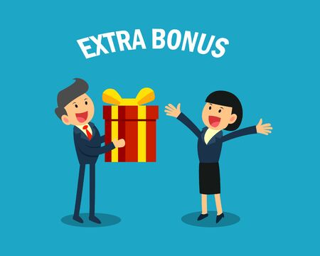 boss giving extra bonus to businesswoman. business celebration concept.