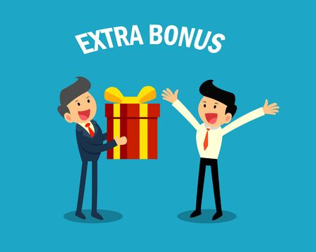 boss giving extra bonus to businessman. business celebration concept.