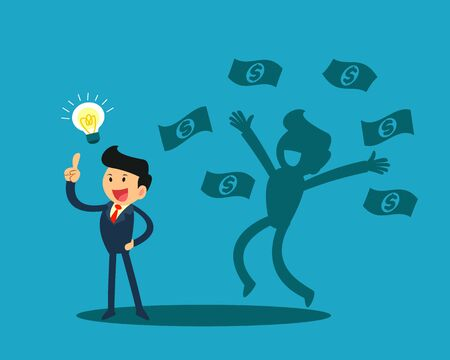 businessman with idea light bulb and his happy shadow get a lot of money. business idea concept. Stock Illustratie