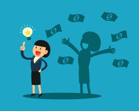 businesswoman with idea light bulb and his happy shadow get a lot of money. business idea concept.