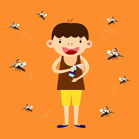mosquito protection concept. children spraying insect or mosquito repellents on skin