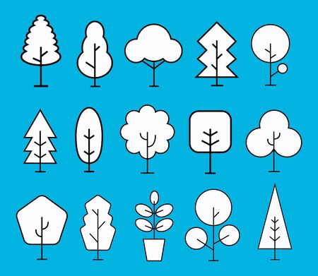 tree and plant icon set. vector illustration.